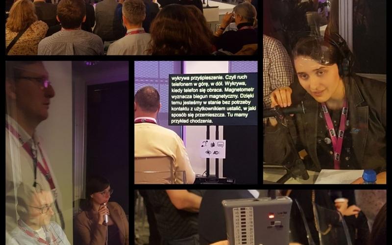 HACKATHON Kolaż zdjęć: pętla, ekran z napisami, napisowcy i audiodeskryptorka w kabinie